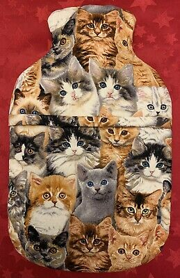 Cats ~ Hot Water Bottle Cover ~ With Or Without Bottle ~ Free Uk Postage