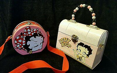 2 BETTY BOOP TIN BOXes - 1  Pink Purse w/ Beaded Handle & Pink/Red Round Purse