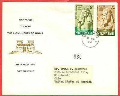 Nigeria Topic Egypt UNESCO NUBIA Registered FDC Cover to USA 1964  GTC