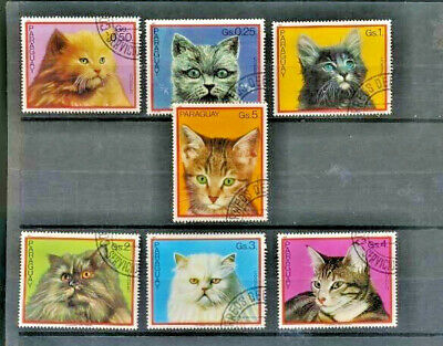 CAT STAMPS Colorful Set of 7 Cat Topical Stamps from Paraguay