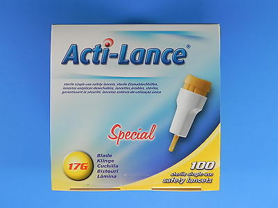 Acti-Lance Special 17G Blade/2.0mm Yellow 100 pk