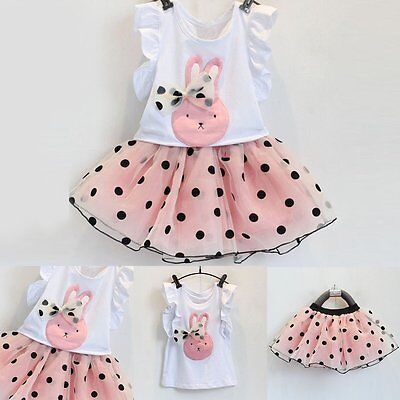 Toddler Kids Baby Girls Vest T-shirt Tops+Tutu Skirt Dress Clothes Outfits Set
