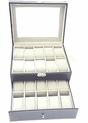 20 Grid Slots Leather Watch Case Gift Box Jewellery Display Storage Holder Black