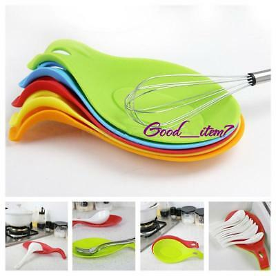 Silicone Spoon Rest Heat Resistant Teabag Spatula Holder Utensil Dish Cooking G