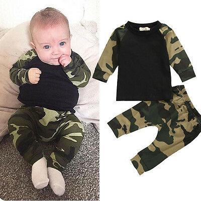 Camouflage Newborn Baby Boys Kids Casual T-shirt Tops + Pants Outfit Clothes Set