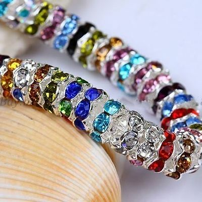 100pcs 6mm Rondelle Acrylic Crystal Rhinestone Spacer Beads for Jewelry 15 color