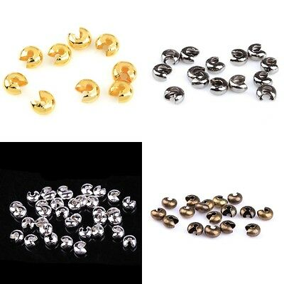 200pcs 3/4/5mm Silver/Gold Plated Crimp Beads Knot Covers Jewelry Making