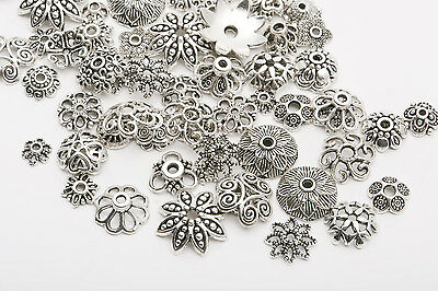 45g (about 150pcs) Mixed Tibet Silver Beads Caps Spacer For Jewelry Making