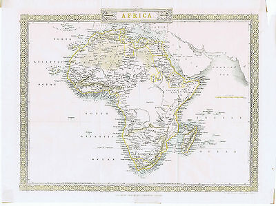 AFRICA Antique Map c1850 Rapkin/Tallis hand coloured