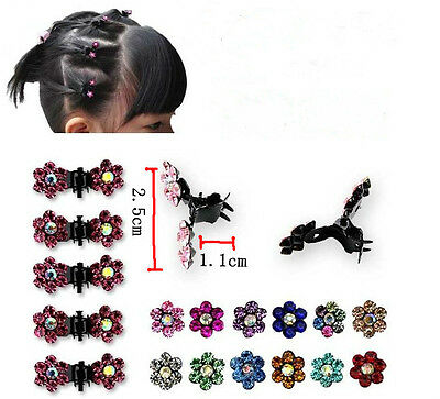 6pcs Fille Mini Cheveux Claws Clips Pince Douce Fleur Strass Cristal Chic