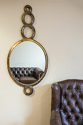 Round Gold Mirror Art Deco Wooden Hand Carved Large Wall Hanging Vintage Circle