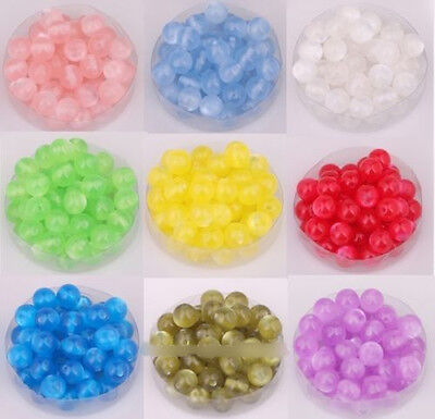Lots 100pcs 8mm Perles Rondes Multicolore Acrylique œil de Chat Pour Bracelet