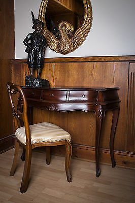 Mahogany Hall Console Entry Table Brown Antique Style Reproduction 3 Drawer Desk