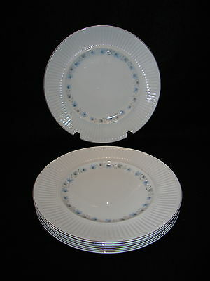 Johnson Brothers Bros ATHENA DINNER PLATES Lot x 5 White Blue Leaves Ribbed Edge