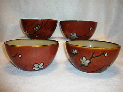 Pfaltzgraff Everyday FLORAL RED COUPE CEREAL / SOUP BOWLS Lot x 4 EUC