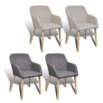 New Fabric Dining Chair Set with Oak Legs Foam-padded Stylish 2 Colours 2/4/6pcs