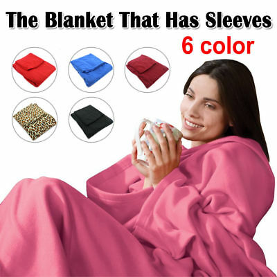 New Sleeved  Blanket Throw Snuggle with Sleeves Snuggie TV Fleece with pocket OZ