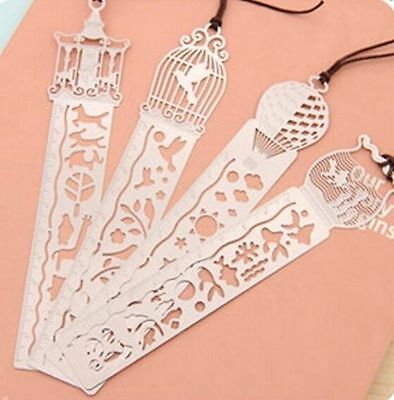 1pc Hot Creative Hollow Ultra-thin Metal Tale World Ruler Bookmark Random Style