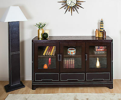 Large 3 Door Sideboard Dark Wood Solid 3 Drawer Leather Detail Modern Contempory