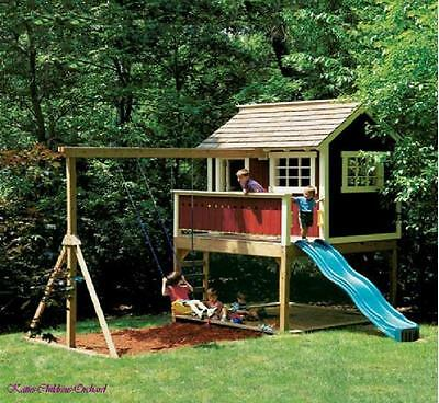 Kids Outdoor Wooden Playhouse Swing Set -Detailed Plan!!!  CD