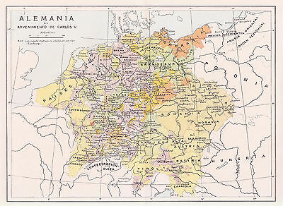 1956 Antique Map of Germany in the Times of Charles V
