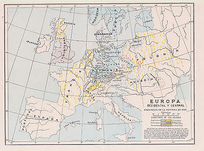 1956 Antique Map of the European Reformation