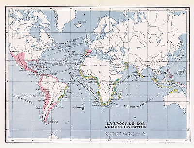 1955 Antique Map of Spanish and Portuguese Age of Exploration