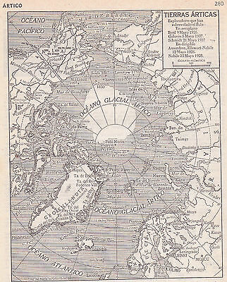 1954 Antique Map of the Arctic Circle