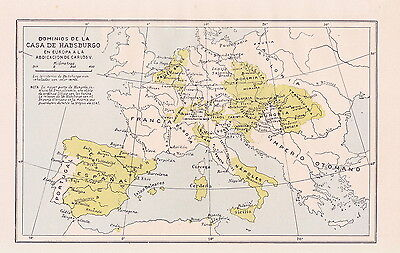 1956 Antique Map of Europe at the Time of Habsburg