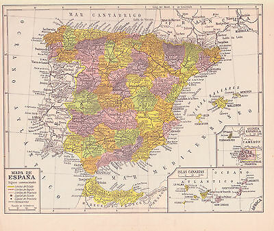 1954 Antique Map of Spain