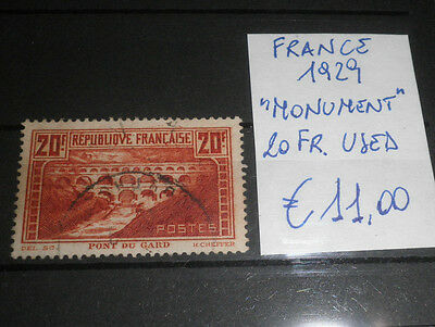 """France 1929 """"monument"""" 20 Fr. Used Stamp (Cat.a)"""