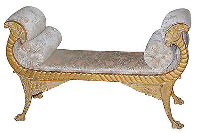 Amazing Empire Giltwood Window Seat With Floral Upholstery & Scroll Arms102-8104