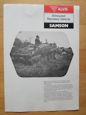 ALVIS SAMSON Armoured Recovery Vehicle 1982 Military Sales brochure - Tank