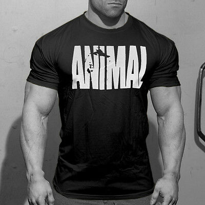 Mens Animal Iconic T Shirt Fitness Athletic Crew Neck Gym Musclefit Training Tee