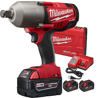 "M18 FUEL 3/4"" Impact Wrench with Hog Ring Kit 3 5Ah Batts Milwaukee 2764-22 New"