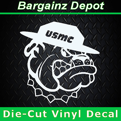 Vinyl Decal.. USMC Mascot Bulldog Marines.. Military Car Truck Laptop Sticker