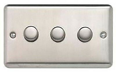 Contactum 3778 BC Brushed Chrome 3g 3 Gang 2 Way 400w Dimmer Switch