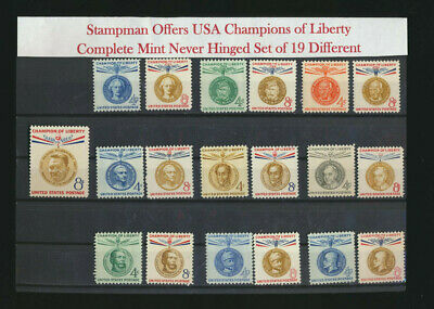 Champions of Liberty Set Complete Collection 19 Mint NH Singles USA  1957-1961