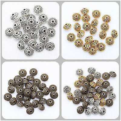 100pcs 6.5mm Tibetan Silver Flying Saucer  UFO Spacer Beads Findings