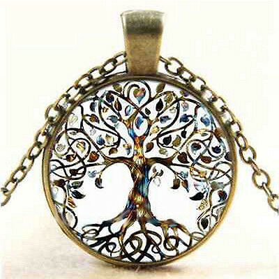 Art Vintage Living Tree of Life Glass Cabochon Bronze Chain Pendant Necklace Hot
