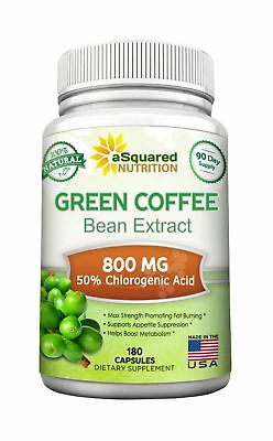 Green Coffee Bean Extract,100% Pure - 180 Capsules - Max Strength,180 Capsules