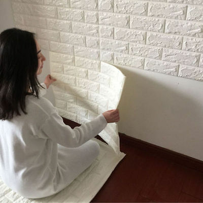 1/20 Roll 3D Effect Flexible Stone Brick Wall Viny Wallpaper Self-adhesive Tool