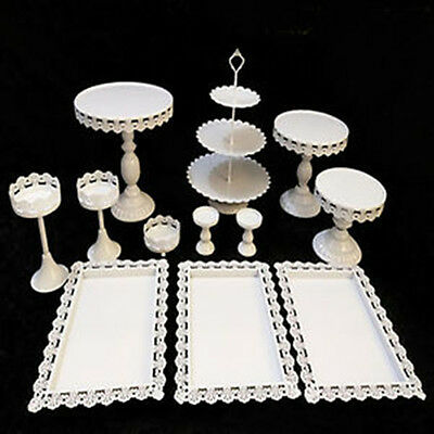 Round/Rectangle/Heart White Metal Stand Party Wedding Cupcake Holder+Big Plates