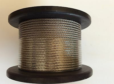 Stainless Steel Marine Wire G316 Balustrade Rope Cable 7 x 7 constr 3.2mm x 100m