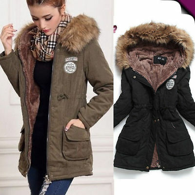 neu damen warmer winterjacke parka wintermantel kapuze damenjacke. Black Bedroom Furniture Sets. Home Design Ideas