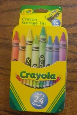 Attirant Crayola Crayon Storage Box Tin Container Holds 24 Crayons Hinged Lid