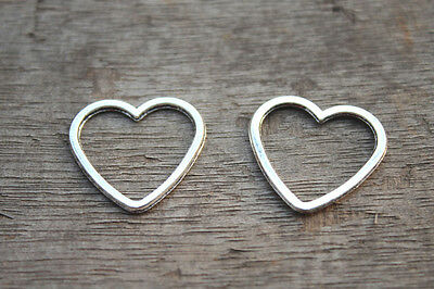25pcs-- Heart charms Silver Heart Charm pendants,heart Connector 24x25mm