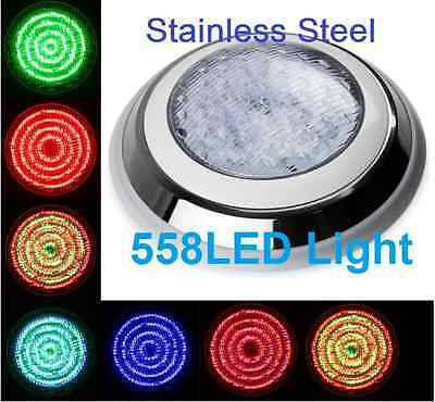 New Stainless Steel 558 LED Lights RGB 7Colour  Swimming Pool Spa Wall Mounted *