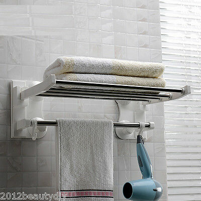 Stainless Steel Wall Mounted Bathroom Suction Towel Rail Holder Storage Rack