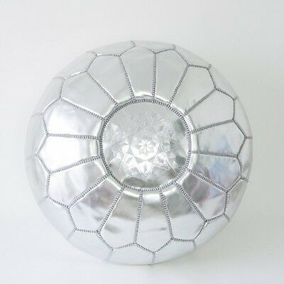Stuffed Moroccan Pouf, Moroccan Pouffe, Footstool, Ottoman, Accent - Silver